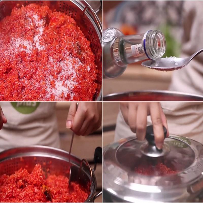 Cách nấu xôi gấc đậu xanh 3 tầng dẻo mềm thơm ngon chuẩn vị dễ làm