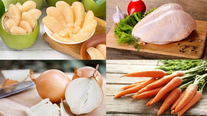 Nguyên liệu món ăn gỏi bưởi thịt gà