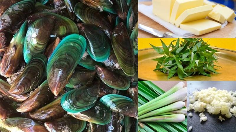 Nguyên liệu món ăn vẹm xanh nướng bơ tỏi và vẹm xanh nướng bơ ngò tây