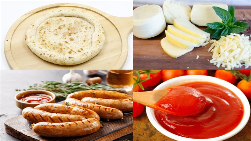 Nguyên liệu món ăn pizza xúc xích viền phô mai