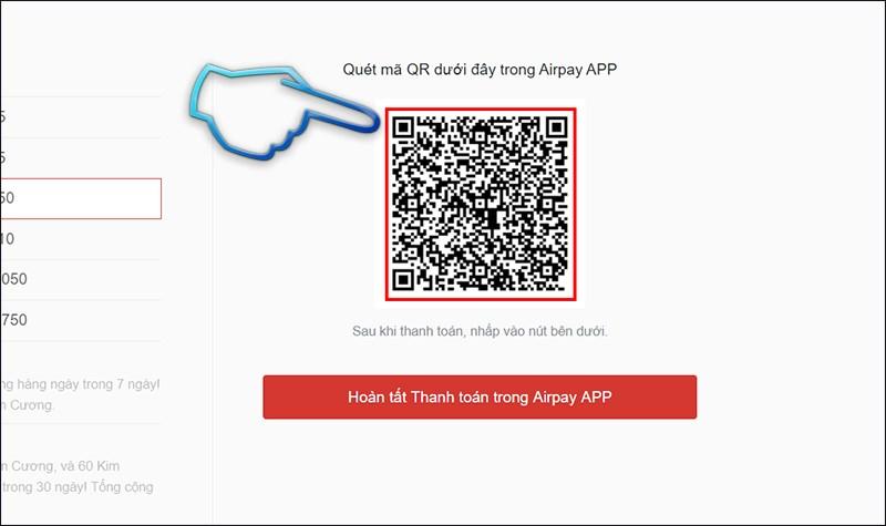 Bước 3: Trang sẽ trả về cho bạn 1 mãQR code, dùng ví điện tử Airpay cótrong điện thoạiquét mã QR này