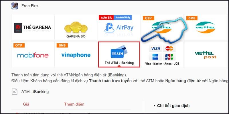 Bước 1: Chọn hình thức thanh toán nạp thẻ qua ATM - iBanking.