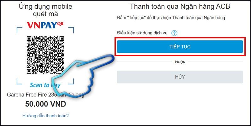 Bước 3: Trang sẽ chuyển đến màn hình xác thực. Bấm chọn tiếp tục để có thể thanh toán qua web iBanking của ngân hàng bạn sử dụng.