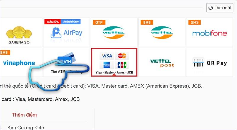 Bước 1: Chọn hình thức thanh toán thẻ Visa, Mastercard.