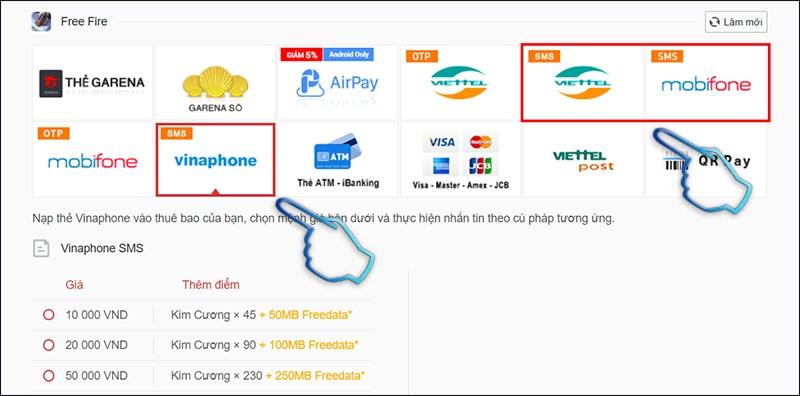Bước 1: Chọn phương thức thanh toán SMS theo nhà mạng bạn đang sử dụng.