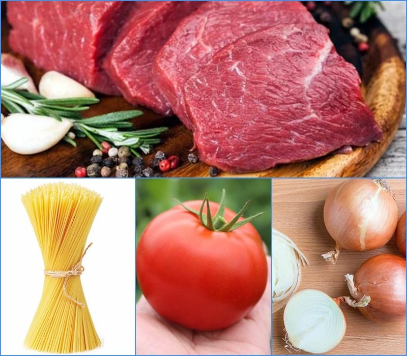Nguyên liệu món ăn mì ý sốt cà chua bò bằm