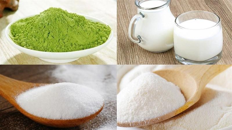 Nguyên liệu món ăn chè matcha ngọc thạch
