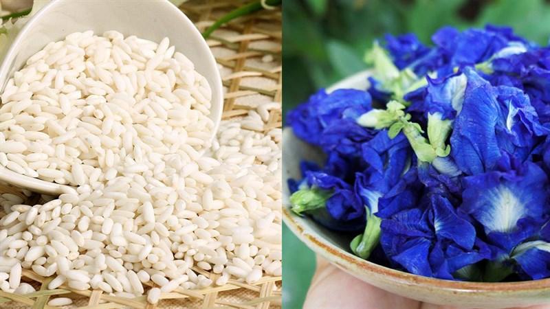 Nguyên liệu món ăn xôi hoa đậu biếc