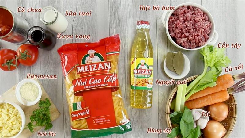 Nguyên liệu món ăn nui đút lò phô mai sốt bò