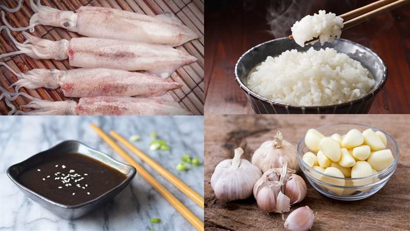 Nguyên liệu món ăn mực nướng nhồi cơm sốt teriyaki