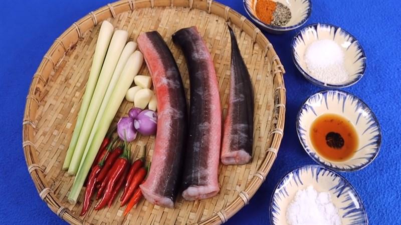 Nguyên liệu món ăn lươn nướng sa tế