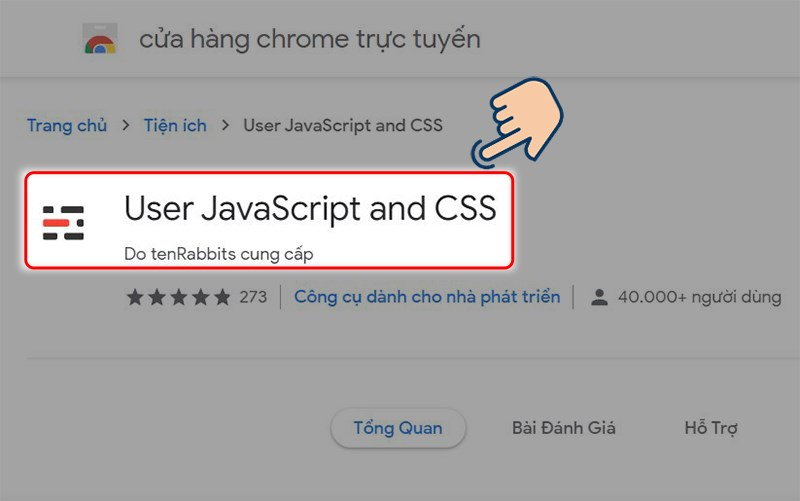 truy cập Extension hỗ trợ