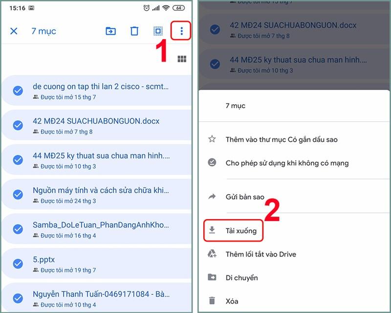 Nếu muốn tải nhiều file cùng lúc, bạn nhấn giữ khoảng 3 giây vào file muốn tải
