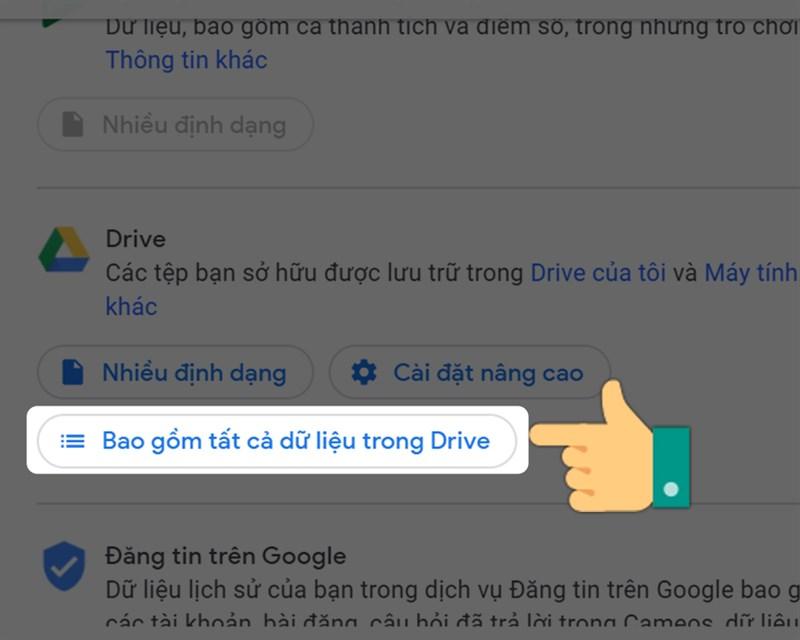 Chọn Bao gồm tất cả dữ liệu trong Drive