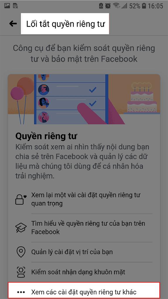 Giao diện lối tắt quyền riêng tư Facebook trên điện thoại