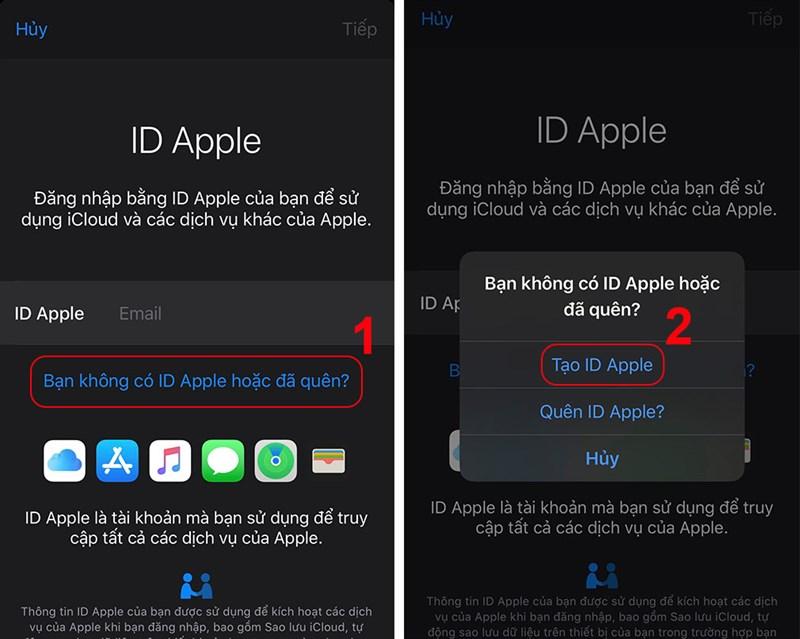 Nhấn vào Tạo ID Apple
