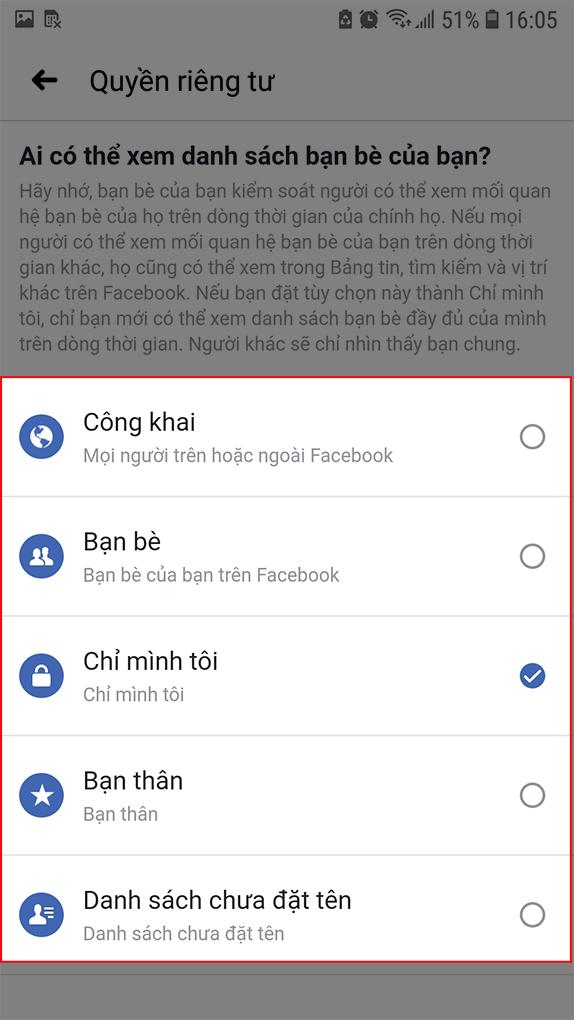 Tùy chọn đối tượng xem danh sách bạn bè Facebook điện thoại