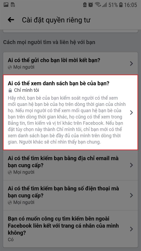 Quyền riêng tư danh sách bạn bè Facebook trên điện thoại