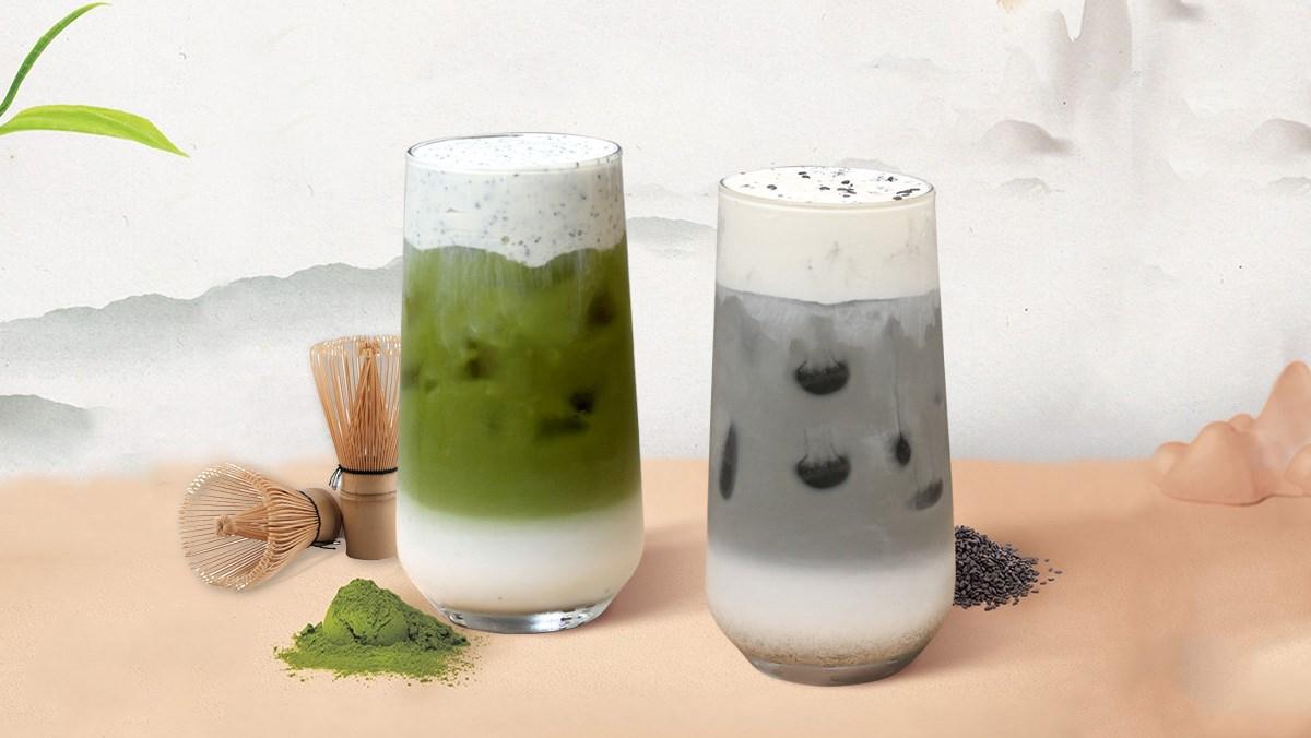 2 cách làm mè đen latte kem sữa và matcha mè đen kem sữa