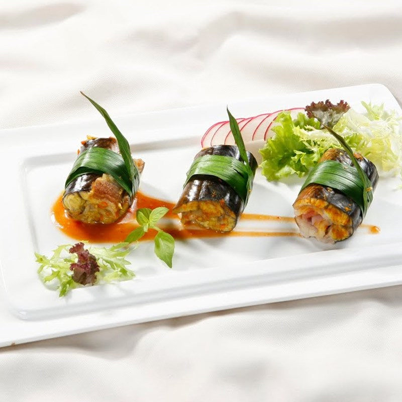Bước 6 Thành phẩm Lươn nướng thịt xông khói cuộn lá dứa