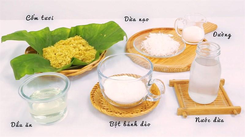 Nguyên liệu món ăn bánh trung thu dẻo nhân cốm