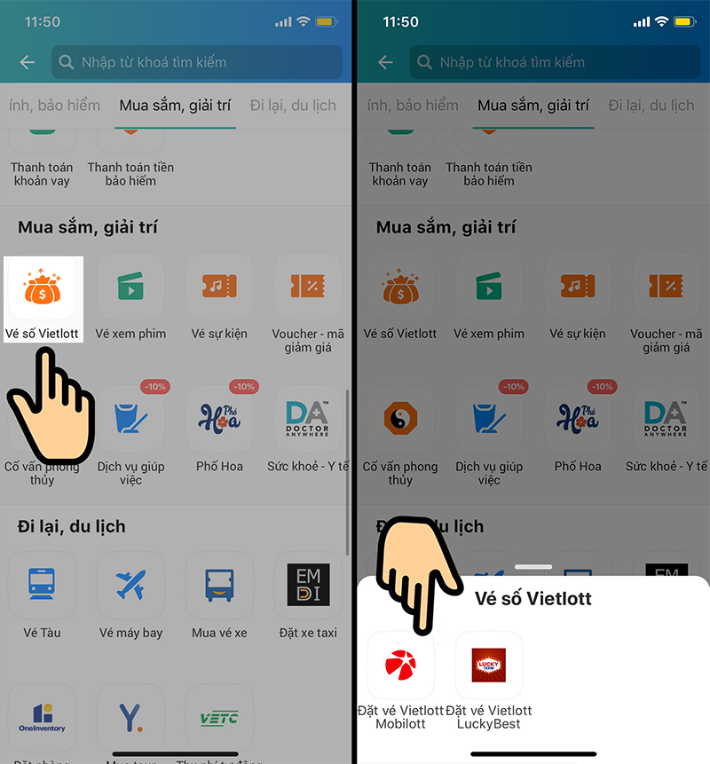 Cách mua vé xổ số Vietlott Mega 6/45 online qua ứng dụng ViettelPay