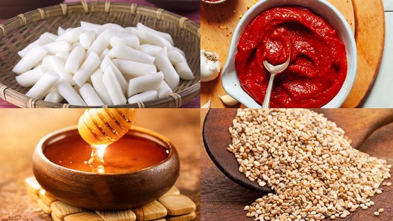 Nguyên liệu món ăn bánh gạo xiên que nướng phô mai và nướng cay