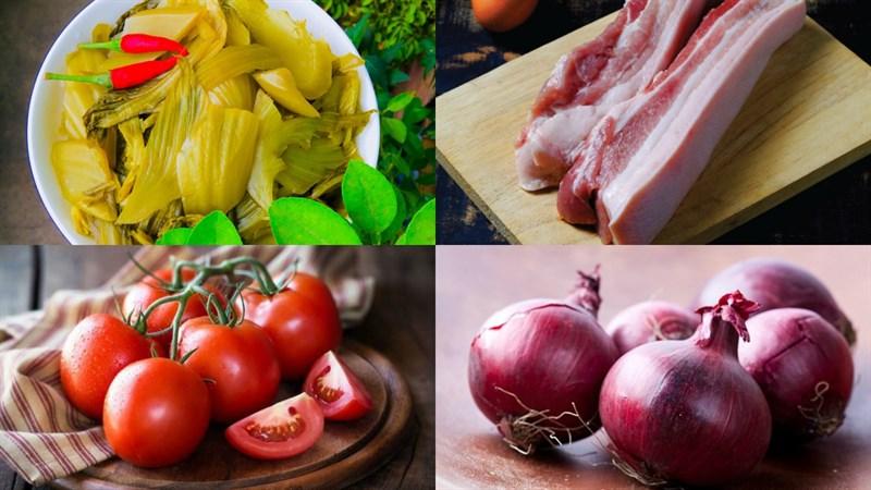 Nguyên liệu món ăn canh dưa chua sườn heo và canh dưa chua thịt heo