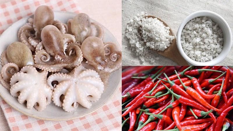 Nguyên liệu món ăn bạch tuộc nướng muối ớt và nướng sốt cay