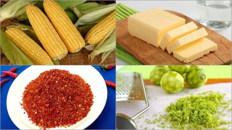 Nguyên liệu món ăn bắp nướng mắm nêm và bắp nướng chanh ớt