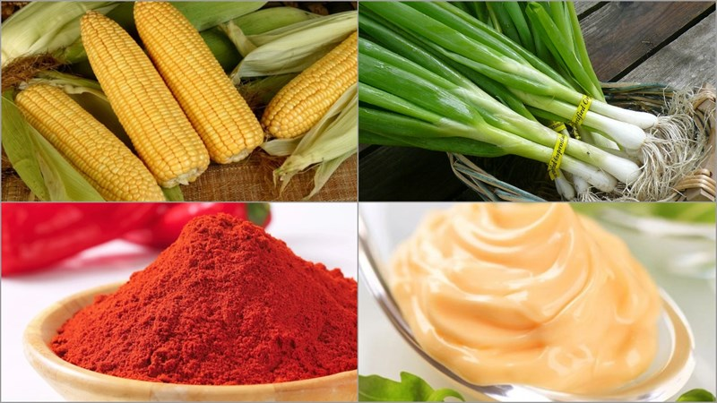 Nguyên liệu món ăn 3 cách làm bắp nướng mỡ hành