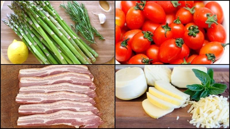 Nguyên liệu món ăn măng tây nướng tỏi và măng tây nướng phô mai