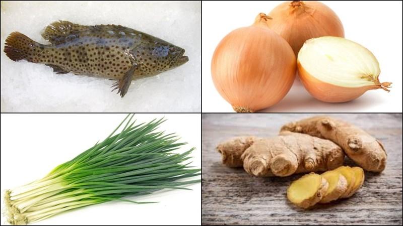 Nguyên liệu món ăn 2 cách cá mú hấp xì dầu và hấp hồng kông