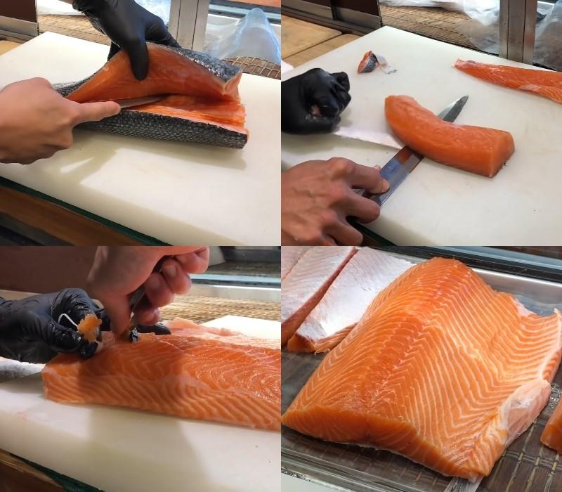 cách sơ chế cá hồi nguyên con
