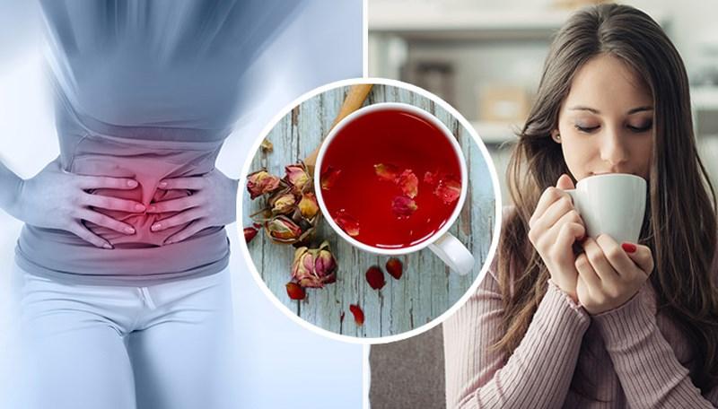 trà hoa hồng chữa đau bụng kinh