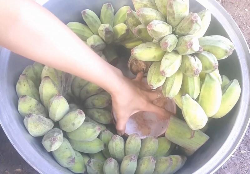 đặt vỏ dừa khô vào giữa các nải chuối
