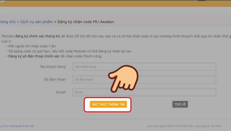 Hướng dẫn đăng ký thông tin nhận code MU Awaken 4