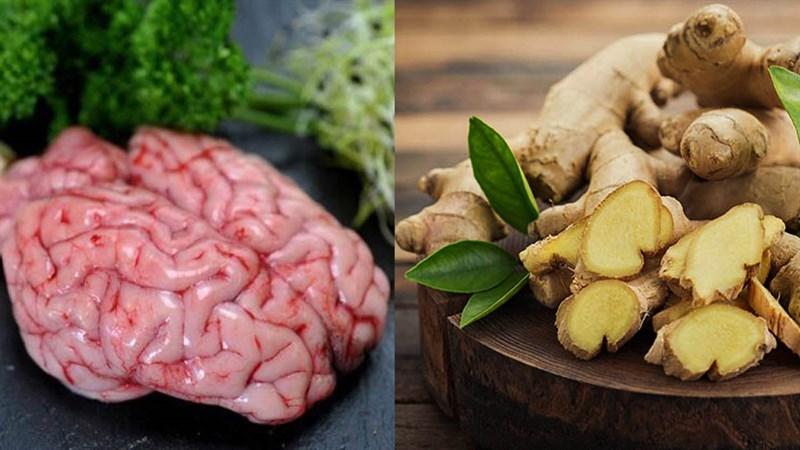 Nguyên liệu món ăn 2 cách làm óc heo hấp gừng và óc heo hấp ngải