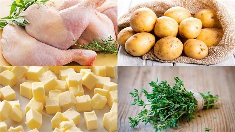 Nguyên liệu món ăn gà đút lò sốt bơ