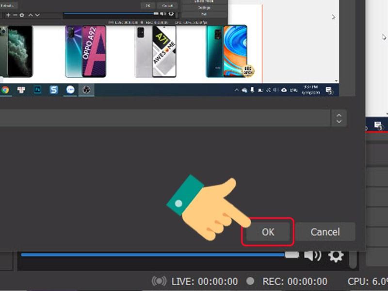 Màn hình live stream trên OBS Studio, nhấn OK