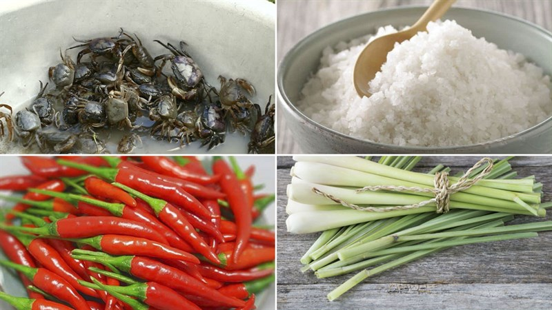 Nguyên liệu món ăn cua đồng rang muối ớt và rang lá chanh
