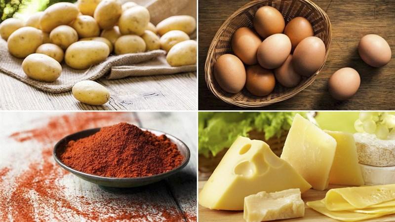 Nguyên liệu món ăn khoai tây nướng trứng và khoai tây nướng sốt vang