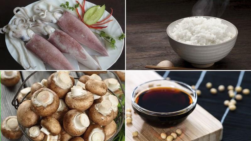 Nguyên liệu món ăn mực nhồi cơm nướng