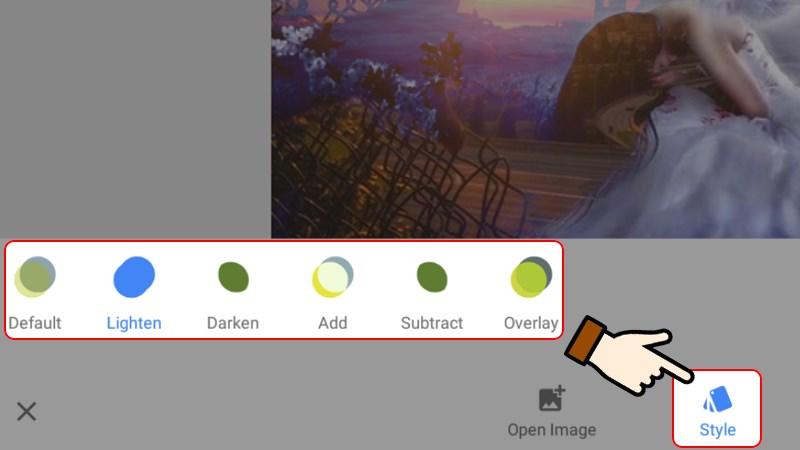 Nhấn chọn Style và lựa chọn kiểu hiệu ứng phơi sáng kép