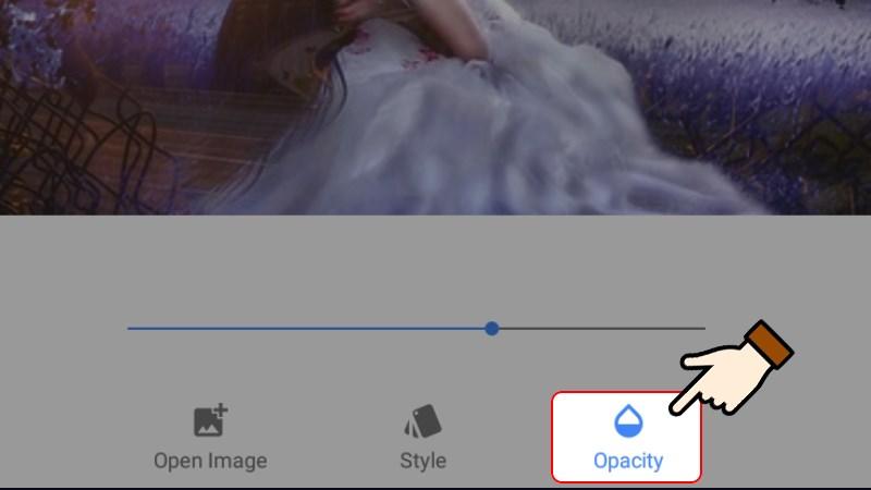 Nhấn chọn Opacity để căn chỉnh độ mờ ảnh