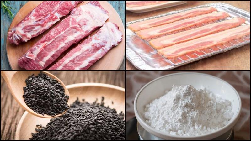 Nguyên liệu món ăn sườn cuộn phô mai và sườn cuộn bacon
