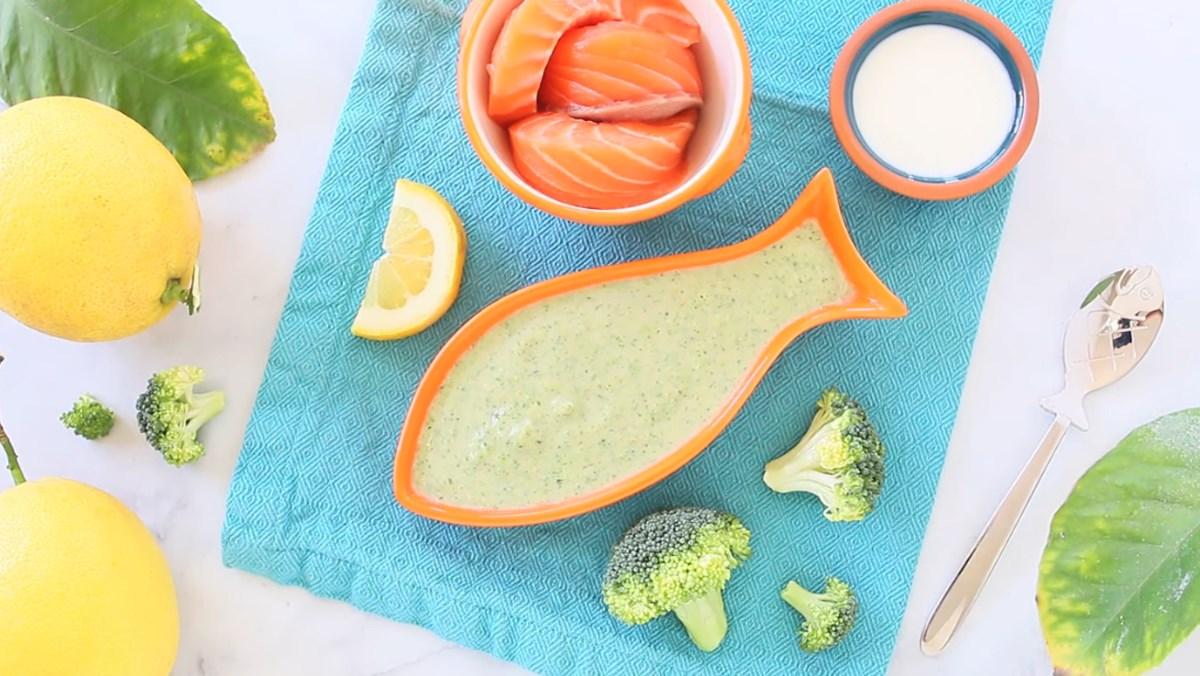 Cháo cá hồi bông cải