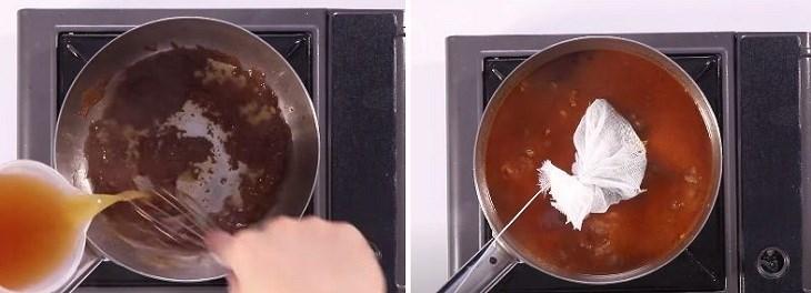 Bước 2 Nấu sốt bơ nâu Sốt Espagnole - Sốt nâu từ bò