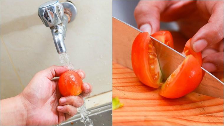 Bước 1 Sơ chế nguyên liệu Nước ép cà chua