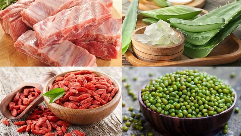 Nguyên liệu món ăn 2 cách làm canh nha đam nấu sườn và nấu tôm